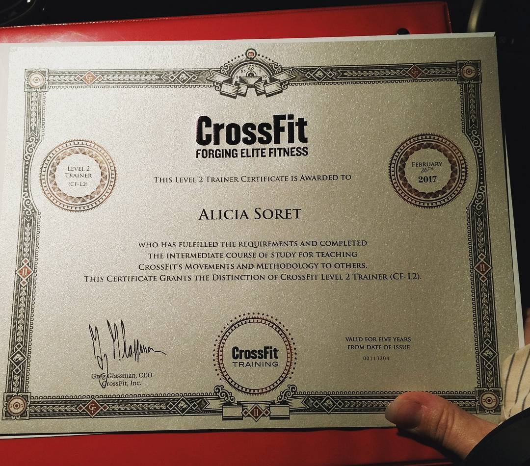 Crossfit Level 2 Earned February 25th 26th 2017 Alicia